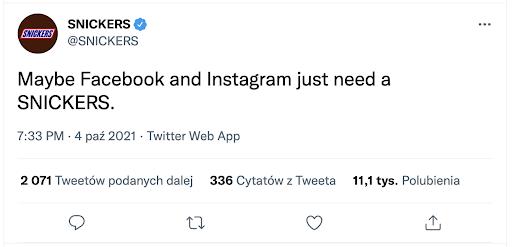 Snickers szydzi z Facebook i Instagram